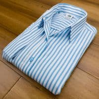 Grenouille Ladies 3/4 Sleeve Turquoise Blue and White Stripe Twill Shirt